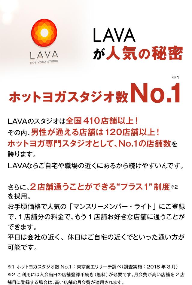 LAVAのスタジオは全国410店舗以上!その内、男性が通える店舗は120店舗以上!ホットヨガ専門スタジオとして、No.1の店舗数を誇ります。